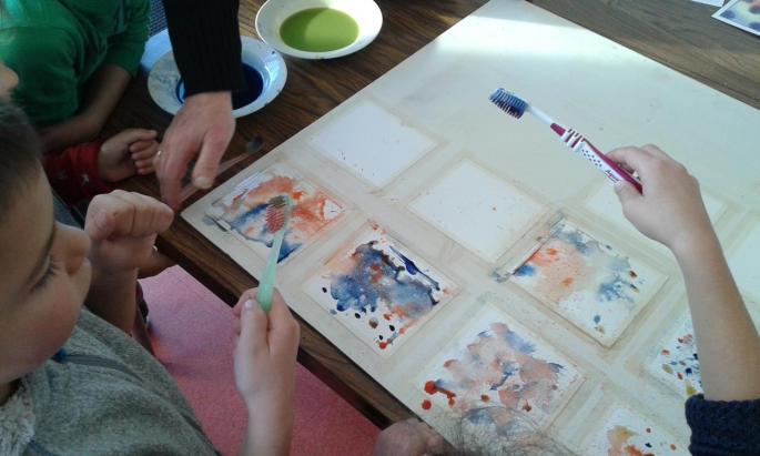 Dominique Frémy a initié les élèves à l'aquarelle.